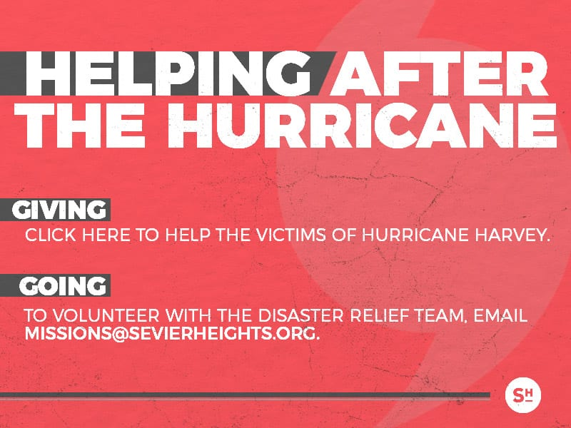 Promotional image for helping after Hurricane Harvey